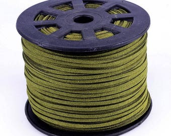 1 meter suede cord 3 mm olive color
