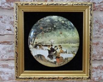 Vintage Staffordshire framed ceramic wall plaque