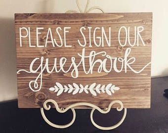 Please sign our guestbook, wedding guestbook sign, guestbook wood sign, rudric wedding sign
