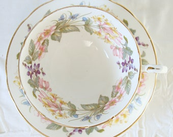 Vintage Paragon 'Country Lane' Teacup and Saucer, Flower Decor, England