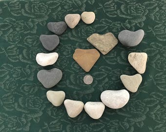 Collection of 15 Lake Michigan heart shaped beach rocks