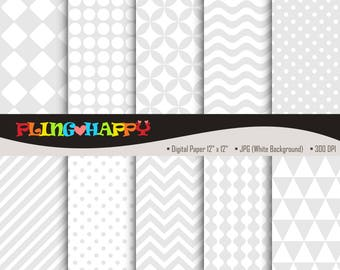 70% OFF Light Gray Digital Papers, Chevron/Polka Dot/Wave/Stripe Pattern Graphics, Personal & Small Commercial Use, Instant Download