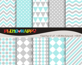 70% OFF Gray And Turquoise Digital Papers, Chevron/Polka Dot/Wave/Stripe Pattern Graphics, Personal & Small Commercial Use, Instant Download
