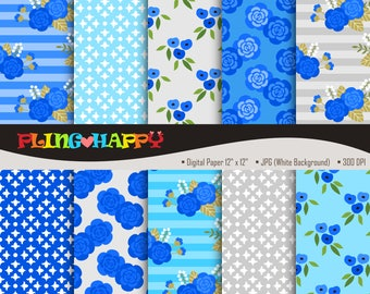70% OFF Blue Lovely Flower Digital Papers, Lovely Flower Pattern Digital Papers Graphics, Personal & Small Commercial Use, Instant Download