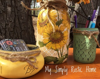 Mason Jar Sunflower Desk Set-Desk Set-Sunflower Mason Jar Office-Desk Organizer-Mason Jar Office Set -Desk Decor-Desk Set-business card jar