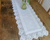 Vintage White Cotton Embroidered Table Runner with Filet Crochet Edging 33x101cm