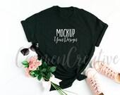 Gildan Black T-Shirt Mockup / Feminine Apparel Mockup / Shirt Flat Lay Photo