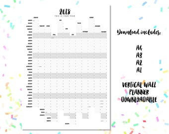 2018 Wall Planner Downloadable. Minimalist Design A4 A3 A2 + A1