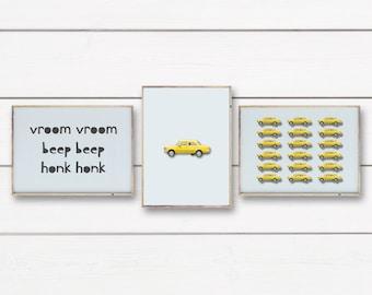 Car Nursery Prints, Printable Art, Set of 3 Car Prints, Car Printables, Yellow Car Prints, Car Wall Art, Car Wall Prints, Car Nursery Decor