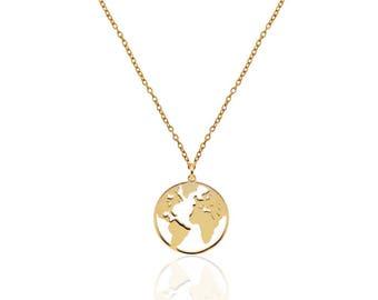 world gold necklace - world chic necklace- world necklace- moon world necklace