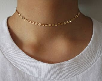 Minimal Coin / Disk Choker Necklace | Gold