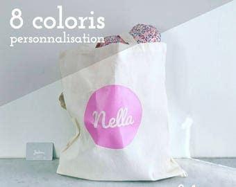 "Tote bag ""circle"" customizable (name/nickname) - 8 different colors"