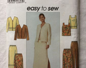 Simplicity 8663 UNCUT New Misses Size 12, 14, and 16 Jacket, Top, Pants, and Skirt Pattern