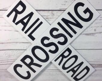 "Railroad Crossing Train Xing Mini Metal Caution Crossing Sign 12"" NEW"