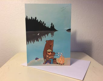 Blank card - Greeting card- Bear and girl bonfire