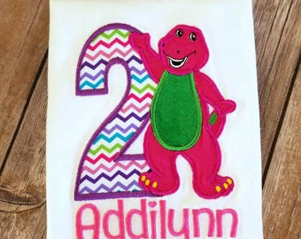 Purple dinosaur birthday shirt. Can do for boy or girl select you number and thread colors!