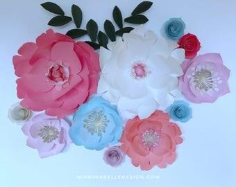 Baby blue paper flower wall decor baby nursery light blue paper flower decor cream flower wall baby blue nursery decor blue wedding decor