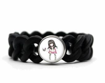 Bird doll black silicone bracelet