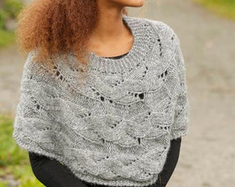 Knit alpaca poncho,  in Alpaca and soft merino wool, hand knit poncho, made to order, a perfect gift