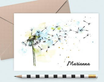 Personalized stationery set/water color dandelion Notecard/Monogram Note Card/Personalized stationery, custom notecard