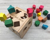 Personalised shape sorter engraved wooden toy - baby gift - gift for him - gift for her