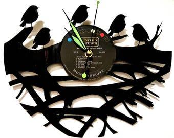 Birds in a Nest Vinyl Record Clock, Bird Clock, Bird Wall Clock, A Birds Nest, Bird Art, Wall Clocks, Custom Clocks, Finches on a branch