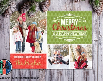 Family Christmas card printable holiday card with personalized photos Merry Christmas Happy New Year multi-photo card tree and snowflake