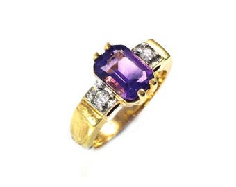 Sale For Labor Day!! Amethyst & diamonds Dutch ring
