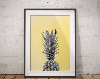 Pineapple Abstract Art | Fruit Wall Decor, Watercolor Food, Pineapple Art, Immediate Download, Printable Poster