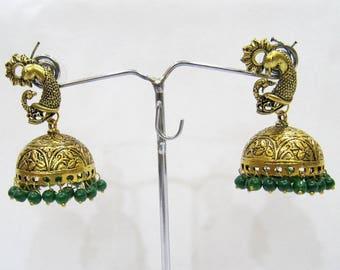 Beautiful Traditional Jhumka Jhumki Jewelry , Fashion Designer Golden Oxidized Earrings , Ethnic Jewelry Drop Chandelier , Indian Earrings.