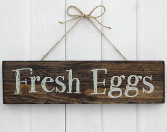 "Rustic Wood Sign ""Fresh Eggs"" for your Chicken Coop, Hen House, Urban Farm, Garden, or Indoor Decor 13""x 3-1/2""x 3/4"""