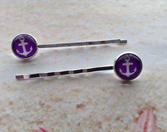 Nautical Purple White Anchor Design Glass Cabochon Silver Plated Setting Beach Hair Clip Bobby Pin x 2