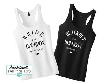 Black Out on Bourbon Street, Bourbon Street, Bride on Bourbon, NOLA, NOLA Bachelorette, NOLA Bachelorette Shirts, Bachelorette Party