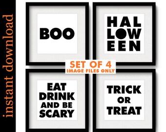 Halloween Typography, Halloween Printables, minimalist Halloween, Halloween prints, Halloween art, Halloween print set, Halloween download