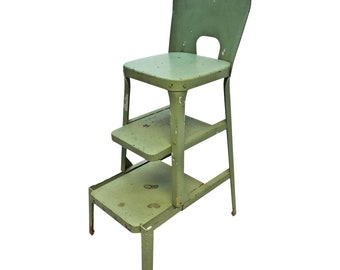 Vintage STEP STOOL green metal industrial sliding folding steel chair retro mid century modern shabby cottage chic kitchen country 50s