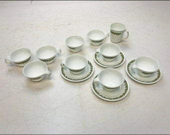14 Vintage Corelle SPRING BLOSSOM Lot crazy daisy cup saucer sugar creamer mug White Green mid century modern flower trim corning