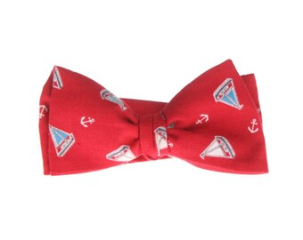 Orange self-tie bow tie for men
