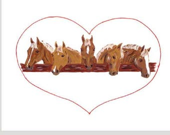 Five Palominos Valentine Card Set of eight