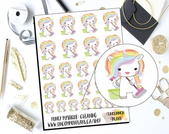 Mystique Unicorn Cleaning Planner Stickers / Sweeping Planner Stickers / Kawaii Unicorn Planner Stickers / Unicorn Stickers / Cleaning House