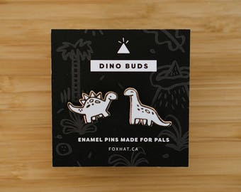 Gold Dinosaur Enamel Pins, Stegosaurus Pin, Brontosaurus Pin, Gold and White Enamel Pins