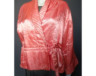 Vintage 1920s/20s 1930s/30s Pink Satin BED JACKET/Loungewear Flapper Boudoir