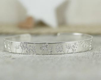 English Country Garden Sterling Silver Cuff, Wishes, Dandelions, Butterflies, Dragonflies, Butterfly, Dragonfly, Handmade, Handstamped