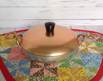 Vintage HALLITE Wear Ever Copper Lid Twisted Handles Pan
