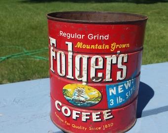 Vintage 1959 Folgers Coffee Tin Can 3 LB Sea Ocean Ship Farm House Kitchen Deco