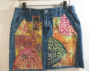 Funky Boho Fabric Collage Denim Mini Skirt