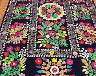 Uzbek vintage silk velvet embroidery suzani.Tablecloth, Wall hanging, Bedspread,Bedcover.