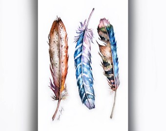 Original Feather Watercolor Painting, Colorful Wall Art, Whimsical Feather Collection, Feather Illustration, Small Feather Art, Home Decor