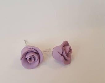 Rose earrings. Purple rose earrings. Rose studs. Tasharose handmade