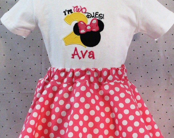Minnie Mouse inspired I'm Twodles birthday outfit, Girls Minnie birthday,Girl 2nd birthday shirt,Girls second birthday outfit,Minnie skirt