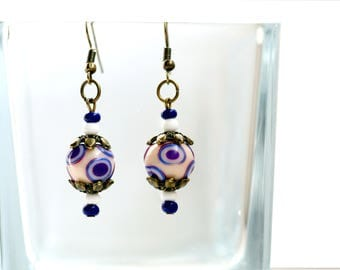Women's earrings Dangle and drop earrings Jewelry for women and teens Bohemian earrings Polymer clay beads One of A Kind Purple White